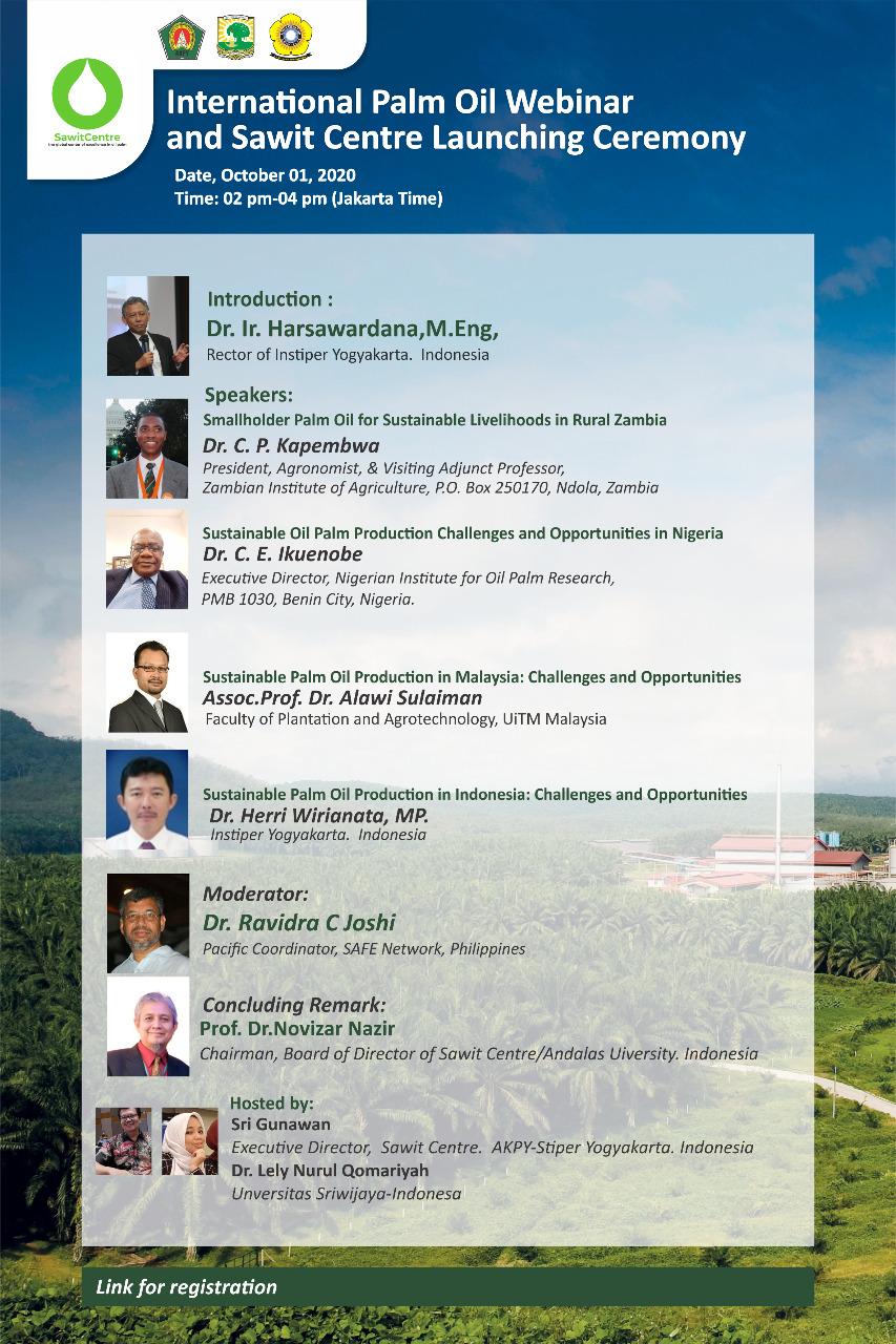 Webinar 5 International Palm Oil Webinar and Sawit Centre Launching Ceremony